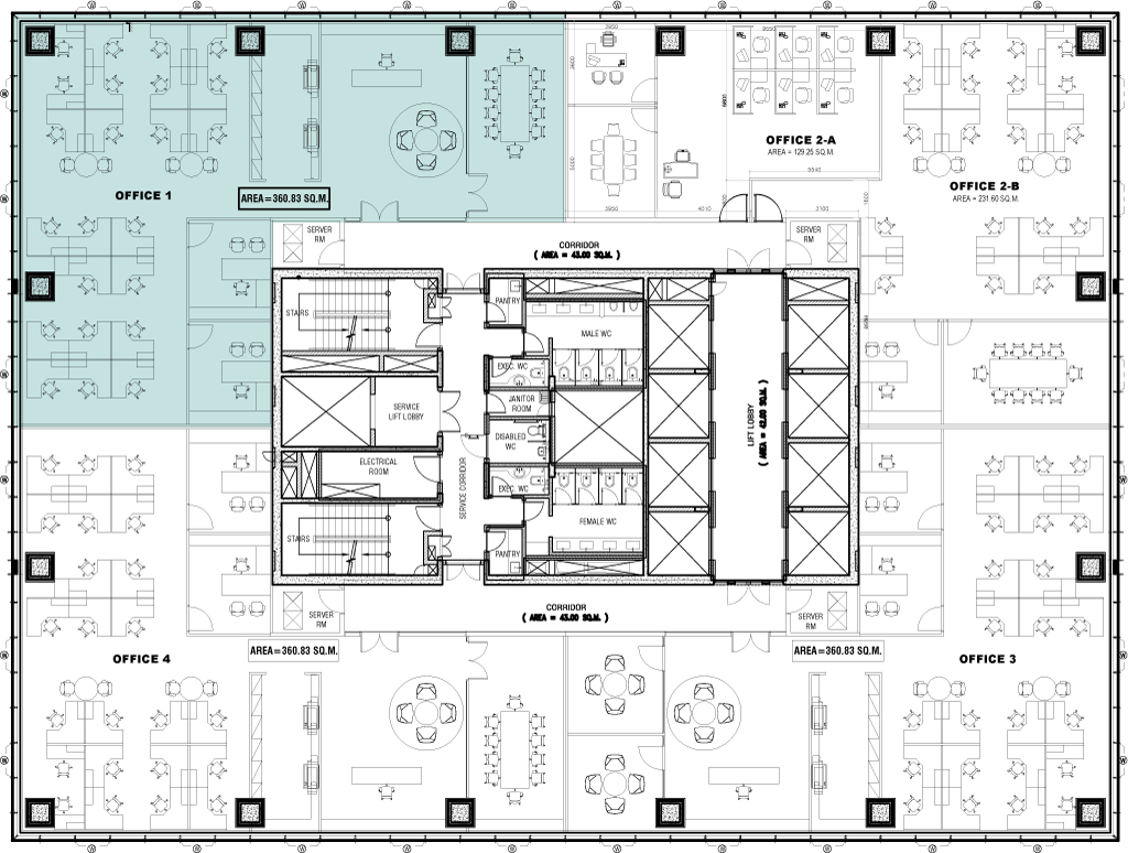 The world trade center abuja for Typical office floor plan